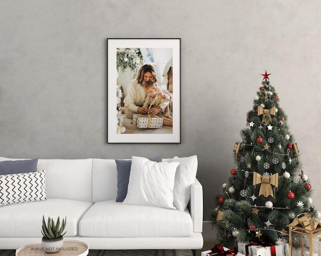 인테리어 생활 프레임 및 크리스마스 트리 목업