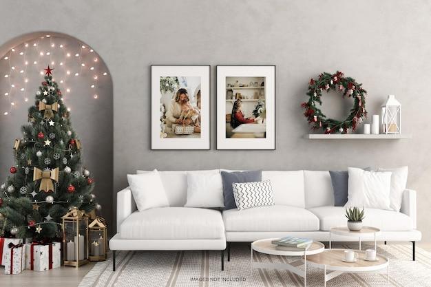 인테리어 생활 프레임 및 크리스마스 트리 및 의자 모형
