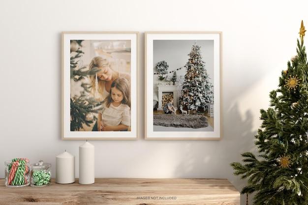 인테리어 생활 프레임 및 크리스마스 트리 모형