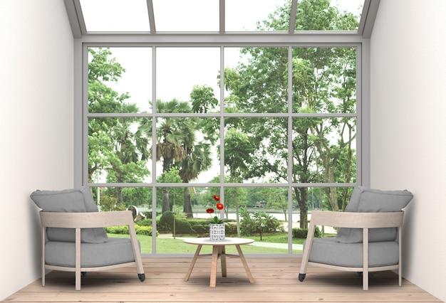 인테리어 거실과 공원 풍경. 3d 렌더링 프리미엄 PSD 파일