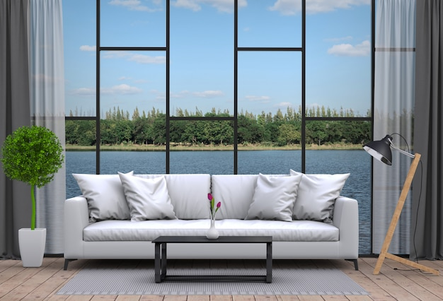 Интерьер гостиной и речной пейзаж. 3d рендеринг