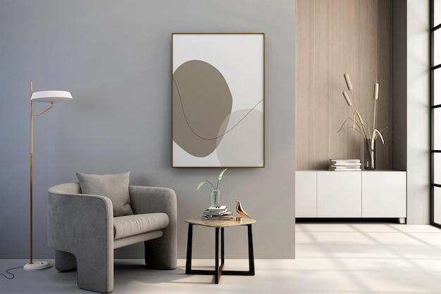Interior living room frame and amrchair mockup design in 3d