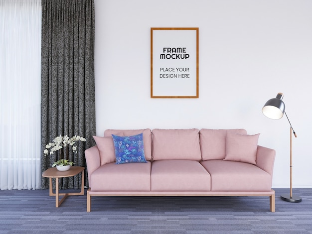 Interior living room frame photo mockup