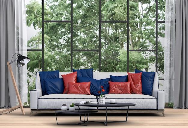 Interior living room and park landscape.