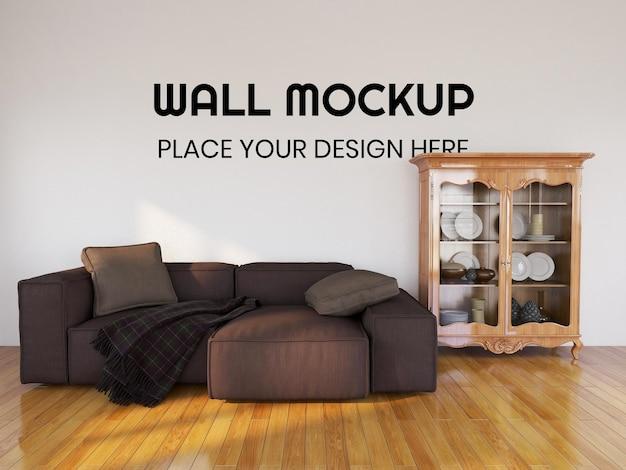 Интерьер гостиной, реалистичный макет стены
