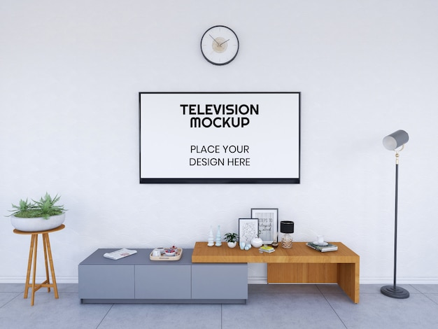 Interior living room and television mockup