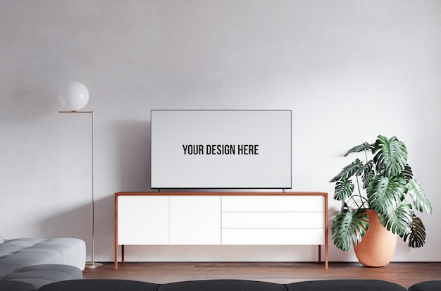 Interior living room and tv mockup