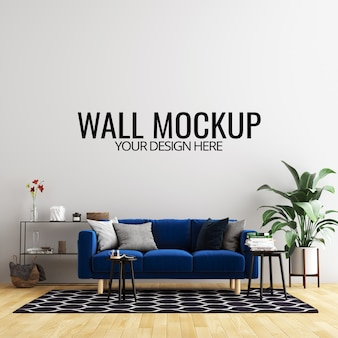 Interior living room wall background mockup with furniture and decoration