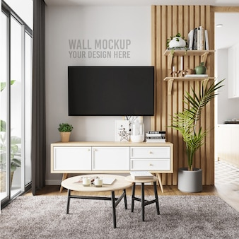 Interior living room wall background mockup with tv and cabinet decoration