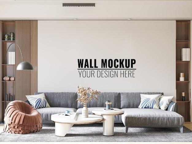 Interior living room wall mockup 3d rendering