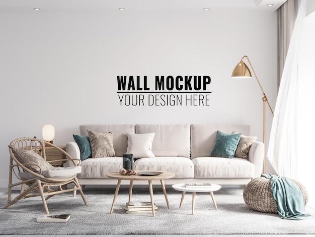 Интерьер гостиной стены макет - 3d визуализация