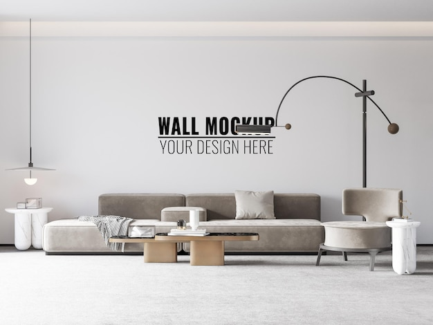 Interior living room wall mockup - 3d rendering