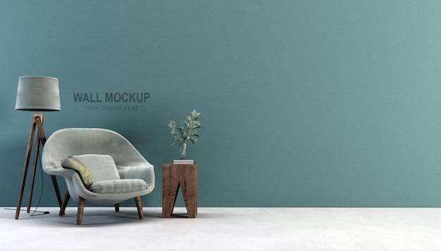 Дизайн макета стены гостиной в 3d рендеринге