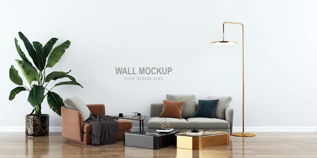 3dレンダリングのインテリアリビングルームの壁のモックアップデザイン
