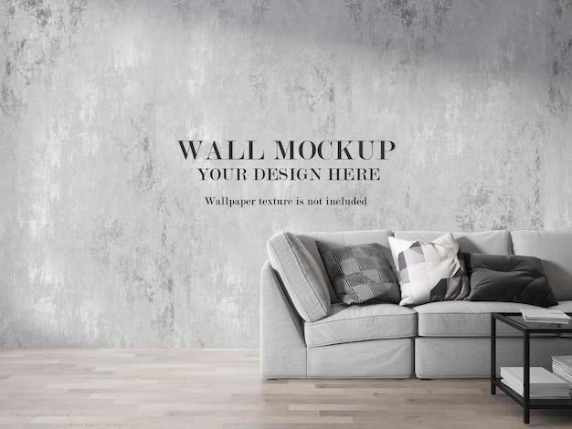 インテリアリビングルームの壁のモックアップデザイン
