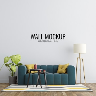 Interior living room wall mockup with furniture and decoration