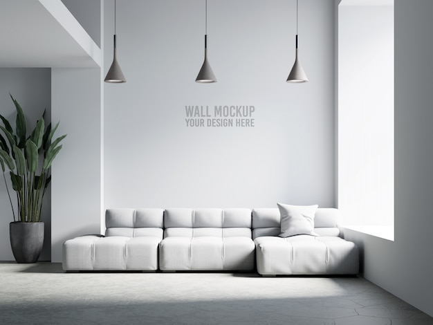 Interior living room wall mockup