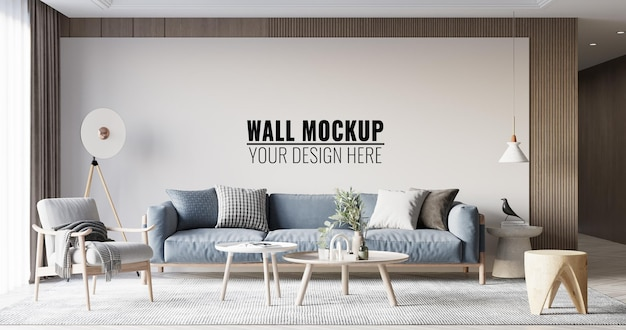Интерьер гостиной стены мокап