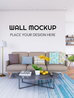 Interior living room wallpaper mockup