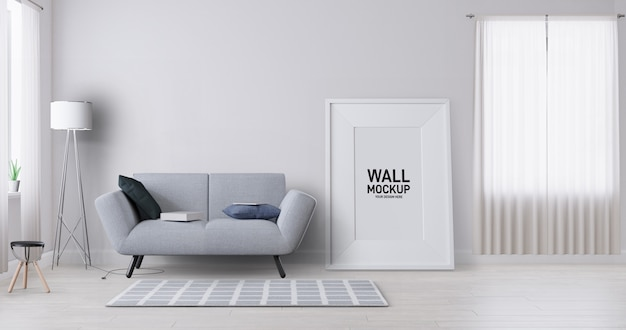 Interior living room wallpaper mockup.