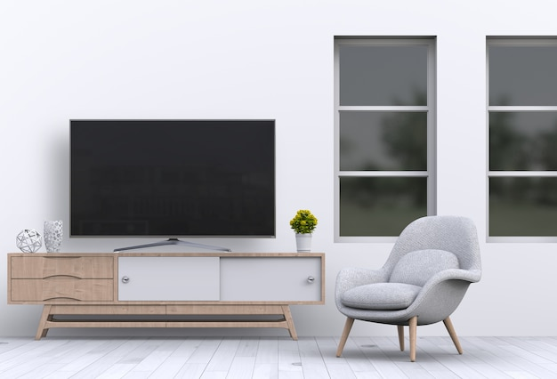 Interior living room with smart tv, cabinet, sofa and decorations