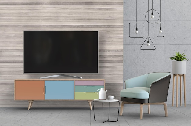Interior living room with smart tv, cabinet, sofa and decorations.