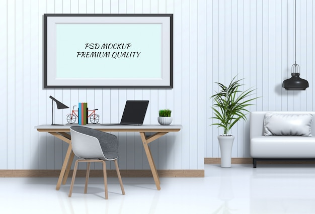 Interior living room workspace with laptop computer and mockup blank poster