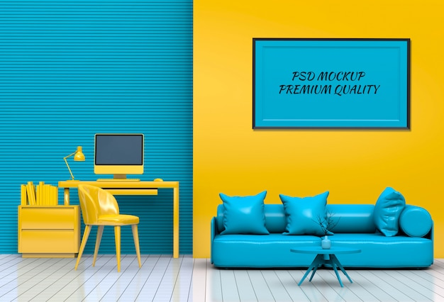 Interior living room workspace with sofa, desktop computer and mockup blank poster