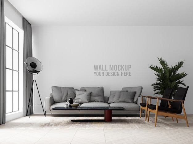 インテリアリビングルームの壁のモックアップ