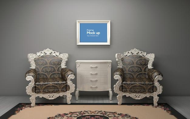 Интерьер роскошной гостиной со стульями и рамой макет