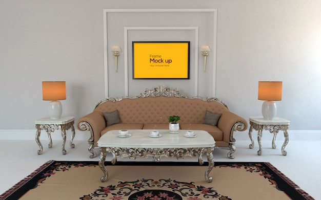 Интерьер роскошная гостиная с диваном, столом и рамой макет
