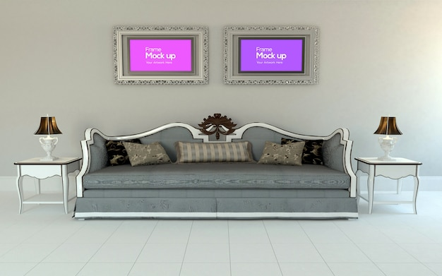 Interior luxury living room with sofa, table and frame mockup