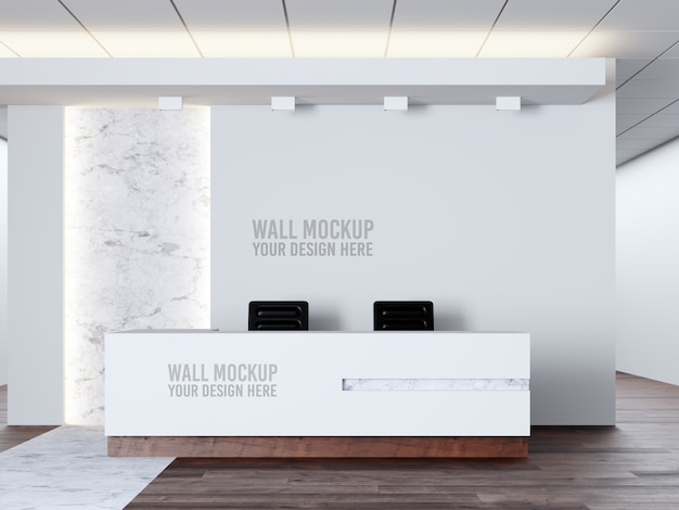 Interior medical clinic wall mockup