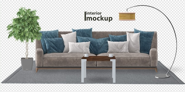 Interior mockup 3d rendering isolated