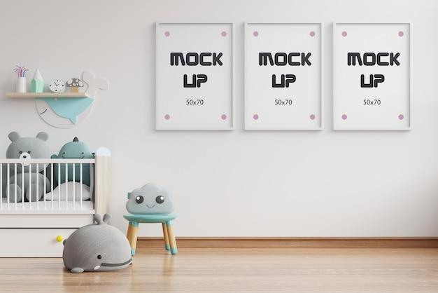 인테리어 모형, 키즈 룸, 벽 프레임 모형 3d 렌더링