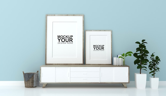 Interior mockup of photo frame on wall in 3d rendering