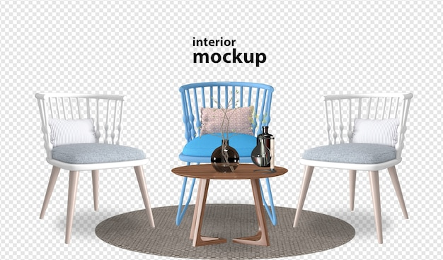 Interior mockup rendering isolated