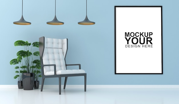 Interior mockup with photo frame on wall in 3d rendering