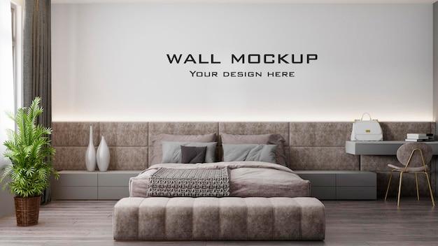 Интерьер современной спальни, макет стены премиум psd