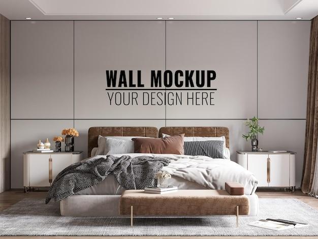Interior modern bedroom wall mockup