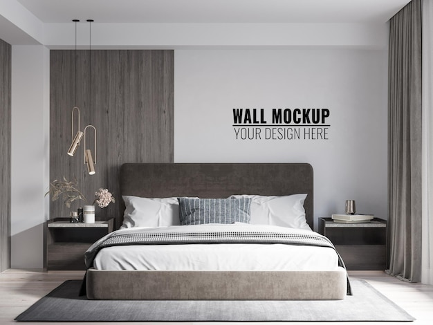 인테리어 현대 침실 벽 모형