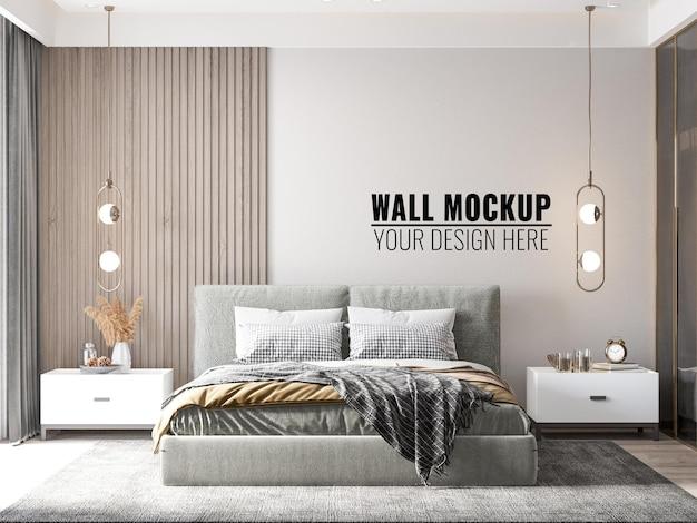 Интерьер современной спальни стены мокап