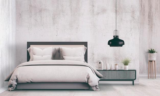 装飾が施されたインテリアのモダンなベッドルーム