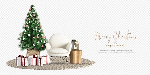 インテリアのモダンなリビングルームにはクリスマスツリーとアームチェアリンの3dレンダリングがあります