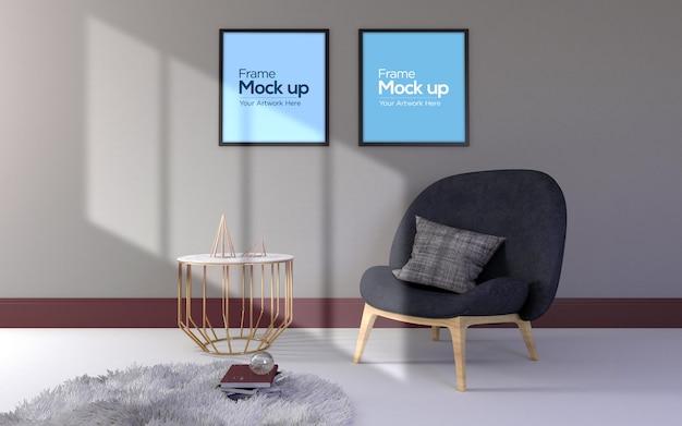 インテリアモダンなリビングルームの椅子、テーブル、フレームのモックアップ