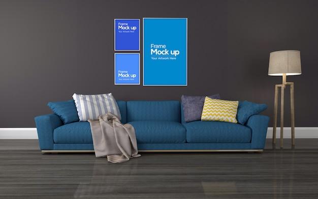Интерьер современная гостиная с красным диваном и коллаж из рамы макет
