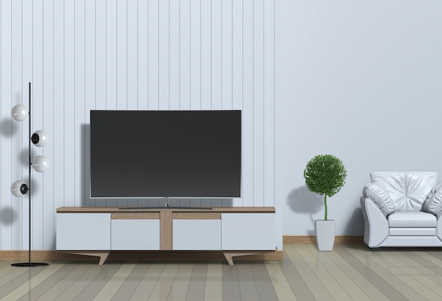Interior modern living room with smart tv, cabinet, and armchair 3d render