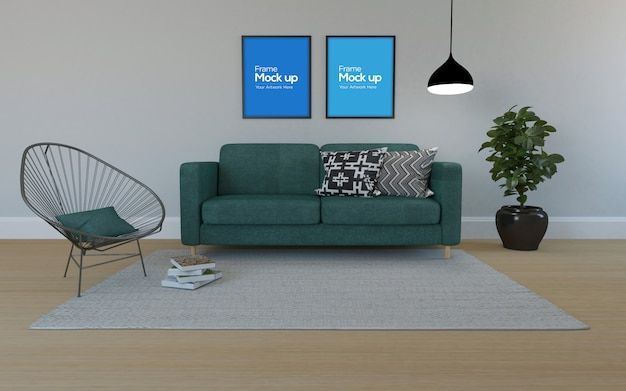 Интерьер современная гостиная с диваном и рамой макет