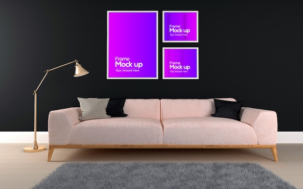 Interior modern living room with sofa and frames mockup