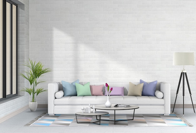 Interior modern living room with sofa,  plant, lamp, 3d render